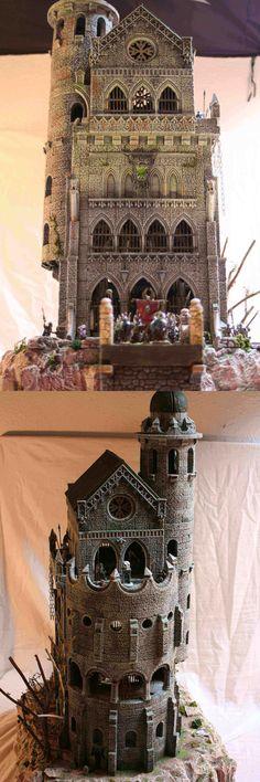 Vampire castle w/ Hirst Arts blocks. Fantasy Castle, Fantasy House, Medieval Fantasy, Fantasy Miniatures, Dollhouse Miniatures, Tabletop, Vampire Castle, Hirst Arts, Warhammer Terrain