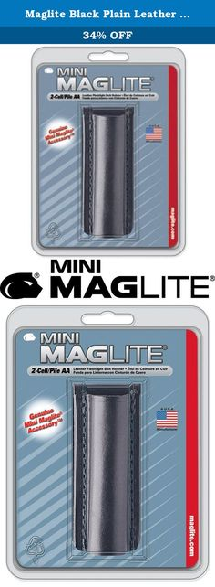 """Maglite Black Plain Leather Holster for AA Cell Mini Flashlights. Black, plain leather belt holster, for mag mini Maglite """"aa"""" incandescent aluminum flashlights. This product adds a great value. Product is highly durable and very easy to use. This product is manufactured in china."""