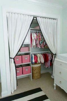 346 Living: Sweet baby girl's nursery closet design with Ikea curtains replacing. 346 Living: Sweet baby girl's nursery closet design with Ikea curtains replacing closet doors . Ikea Curtains, Closet Curtains, Closet Bedroom, Girls Bedroom, Bedroom Decor, Girl Nursery, Nursery Ideas, Bedroom Ideas, Bedroom Curtains