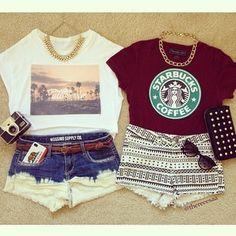 Starbucks shirt crop tops shorts tribal print sunglasses
