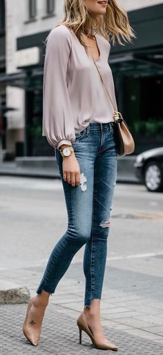fashion trends outfit blouse + ripped jeans