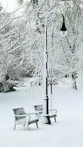Snow covers park benches and light poles at VanderVeer Botanical ...