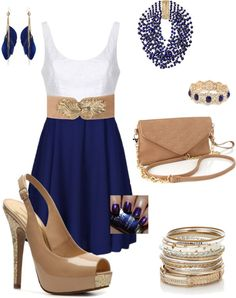 """""""blue gold and tan"""" by mbean on Polyvore"""
