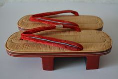 Geta lacquered wooden thong sandals, straw top, vintage Japanese geta