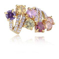 Multi Stone Meteor Spray Ring .. okajewelry.com