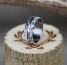 "The ""Golden"" - Elk Antler Wedding Band with Gold Inlay on Titanium Band - Staghead Designs - Wedding And Engagement Custom Wedding Rings, Gold Wedding Rings, Bridal Rings, Wedding Jewelry, Just In Case, Just For You, Elk Antlers, Deer Antler Ring, Ring Pictures"