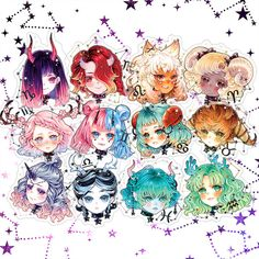 Starborne Acrylic charms - Full 12pc set  · MINMONSTA · Online Store Powered by Storenvy Zodiac Signs Animals, Zodiac Signs Chart, Zodiac Signs Astrology, Zodiac Star Signs, Virgo Horoscope, Sagittarius Scorpio, Astrology Numerology, Numerology Chart, Anime Zodiac