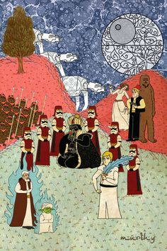 Classic films reimagined as traditional ottoman paintings by Murat Palta