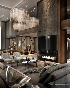 Como Decorar uma Sala: +80 Projetos Incríveis para te Inspirar em 2020 Home Room Design, Dream Home Design, Modern House Design, Living Room Designs, Modern Houses, Design Bedroom, Design Kitchen, Luxury Interior Design, Modern Interior