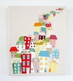 City living  Textiles Canvas Print van lauraamiss op Etsy, €70,00