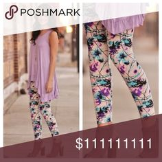 Cute floral leggings! ONLY 5 LEFT! Super soft leggings in a floral print! 92% polyester and 8% spandex. OS fits up to size 12  comfortably! Comment with any questions and feel free to make an offer Infinity Raine Pants Leggings