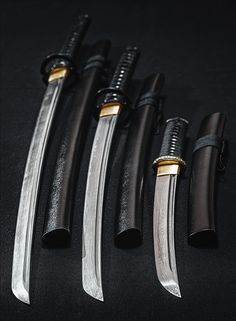 katana (long sword--shorter than daisho), wakizashi (short sword), tanto (dagger)