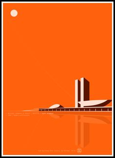 Láminas de arquitectura. Congreso Nacional de Brasil. Niemeyer. Marco
