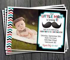 Little Man Mustache Birthday Invitation  FREE by ForeverYourPrints, $15.00