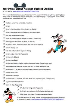 Run disney packing check list...I should start making sure I have this now, that'll give me a few months to get more stuff!!
