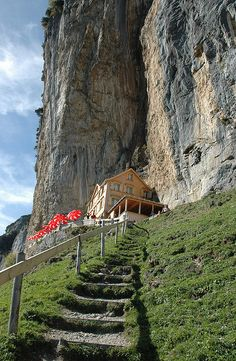 The end of the hike to Aescher-Wildkirchli Mountain Hut below Ebenalp in Appenzell, Switzerland (by jadefyr).
