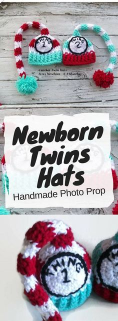 Thing 1 & Thing 2 Newborn (0-3 months) Photo Prop Hats. So much fun! Would make a great baby shower gift for twins! #baby #shower #twins #photoprops #hats #toque #handmade #etsy #ad