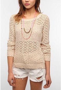 open weave cream sweater $60