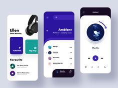 Music Player UX and Screen Mockups by ZhaoWei - Web Design & Web Development - My Original Ideas Mobile Ui Design, App Ui Design, Interface Design, User Interface, Design Design, Musik Player, Player 1, Template Web, Creation Site