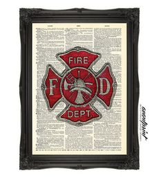 Authentic Firefighter Cross Hero Tribute Print on an Unframed Upcycled Bookpage on Etsy, $8.00