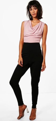 5f67410255 Boohoo Natalie Drape Front Contrast Jumpsuit Size Uk 10 LS170 SS 08  fashion   clothing