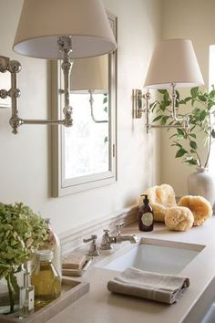 Live these sconces...not necessarily for the bathroom, but for a bookshelf area, perhaps.