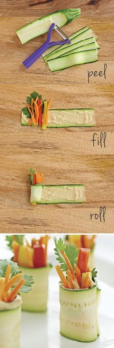 Universal Peeler. With straight blade for harder fruits and veggies and serrated blade for softer foods. Prep hummus and veggie zucchini rolls like a pro - Stuff w/ the Asian Carrot salad! Yummmmm w/ touch ginger?