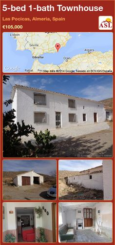 Townhouse in Las Pocicas, Almeria, Spain Large Bedroom, Double Bedroom, Loft Storage, Four Rooms, Shower Cubicles, Entrance Hall, Ground Floor, Restaurant Bar, Townhouse