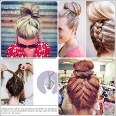 learn how to do simple French braid bun updo hairstyles for medium length