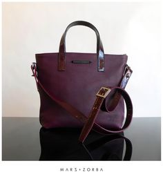 Mars+Zorba Olympia Mini Plum Tote #leather #calfskin #design #fashion #buenosaires #moda #cartera #cuero #ciruela #plum #designer