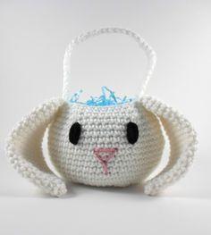 Boy Easter Basket, Easter Bunny Basket, Crochet Easter Basket, Crochet Amigurumi Bunny