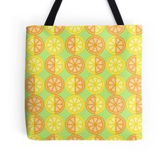'Citrus Fruits' Tote Bag by imagology Citrus Fruits, Poplin Fabric, Cotton Tote Bags, Shopping Bag, Shoulder Strap, Bright, Pattern, Shopping Tote Bags, Patterns