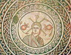 Detail of the Hinton St Mary Christian mosaic from Dorset, now in the British Museum: Christ flanked by two pomegranates.