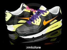 new product 7a86b 7d459 Nike Wmns Air Max 90 Black Orange Lemon (309298-002)