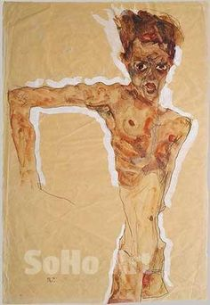 Egon Scheile Self-Portrait 1911 - Oil Paintings and Reproduction Art
