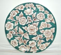 Vintage Green & White Dogwood Floral Platter, Made In Portugal, Hand Painted, in Portuguese | eBay