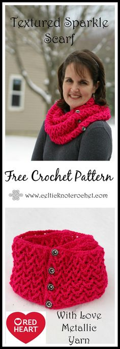 Textured Sparkle Scarf - by Jennifer E Ryan at Celtic Knot Crochet - FREE crochet pattern with video tutorial