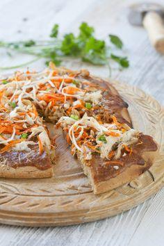 A gluten-free and paleo Thai Chicken Pizza recipe.