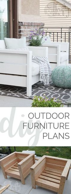DIY Outdoor Chairs and Porch Makeover - Garden Style - DIY Outdoor Chairs and Porch Makeover DIY outdoor porch or patio furniture. Learn how to make thes Outdoor Furniture Plans, Pallet Furniture, Furniture Projects, Home Projects, Home Furniture, Furniture Design, Garden Furniture, Furniture Chairs, Cheap Furniture