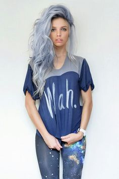 Blue hair. Silver hair. Ombre. Unatural hair color. Hair colors. Colorful hair. Blue. Punk. Hair.