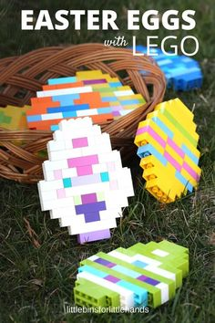 LEGO Easter Eggs for kids to make with basic bricks. Fun building idea and Easter activity for kids and families. Perfect for Easter STEM challenge. decorating kids LEGO Easter Eggs: Building With Basic Bricks Easter Art, Hoppy Easter, Easter Eggs, Easter Table, Easter Decor, Easter Activities For Kids, Easter Crafts For Kids, Learning Activities, Indoor Activities