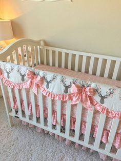 Girly Stag Baby Bedding Blush Crib Bedding by RitzyBabyOriginal