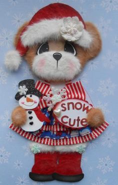 ELITE4U SNOW Baby Girl TEAR BEAR Scrapbook Premade Paper Piecing 3paperwishes