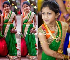 Cute little girl in green saree with gold shimmer border, paired up with contrast orange blouse with pythani silk sleeves. Related PostsKids Half SareeAdorable Kid in Half SareeKids Designer Lehenga/Half SareeKids Designer Lehenga/Half Saree