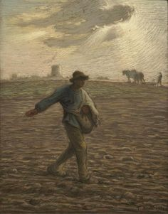 Jean-François Millet The Sower, c. 1865 Pastel and Conté crayon on beige wove paper, mounted on wood-pulp board 18 x 14 ¾ in x cm) Sterling and Francine Clark Art Institute, Vincent Van Gogh, Claude Monet, Millet Paintings, Jean Francois Millet, Barbizon School, Clark Art, Fine Art Prints, Canvas Prints, Reproduction