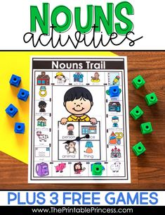 Noun activities for Kindergarten plus 3 FREE games! Find ideas for hands-on and engaging activities to help your students practice nouns. These activities were designed to help students classify nouns as a person, place, thing, or animal. You'll find noun posters, picture sort activities, engaging centers, and no prep practice pages - all made just for Kindergarten. Plus you'll find 3 FREE hands-on games to practice nouns. Your students will have a blast identifying nouns to see who can get to f