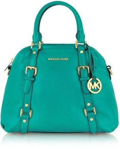 Michael Kors Bedford Genuine Leather Bowling Satchel Bag in blue (aqua)...probably a different color for me though