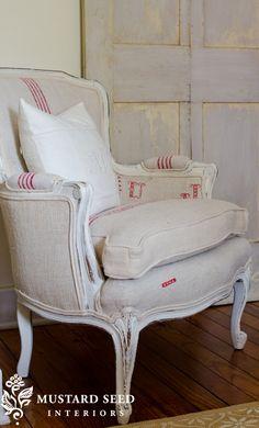 antique grain sack upholstered chair