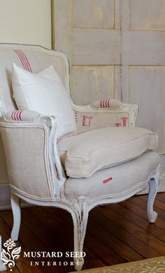 antique grain sack upholstered chair