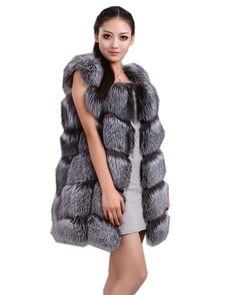 1f290e1de8a Plus Size Sexy Autumn Winter Plaid Natural Silver Fox Fur Vest